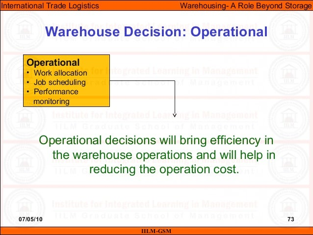 07/05/10 73 Operational decisions will bring efficiency in the warehouse operations and will help in reducing the operatio...
