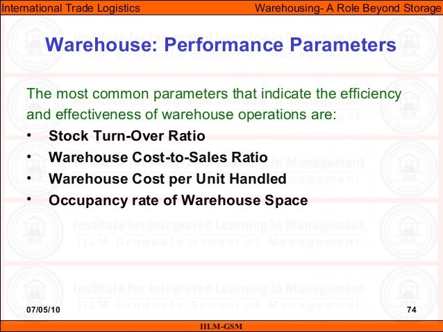07/05/10 74 The most common parameters that indicate the efficiency and effectiveness of warehouse operations are: • Stock...