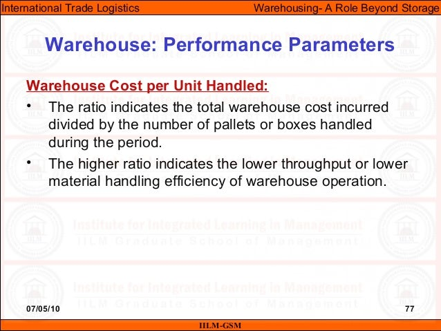 07/05/10 77 Warehouse Cost per Unit Handled: • The ratio indicates the total warehouse cost incurred divided by the number...