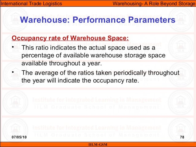 07/05/10 78 Occupancy rate of Warehouse Space: • This ratio indicates the actual space used as a percentage of available w...