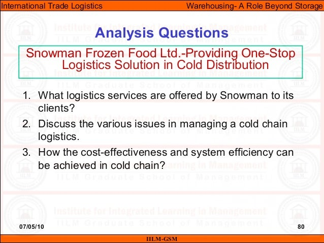 07/05/10 80 Analysis Questions IILM-GSM International Trade Logistics Warehousing- A Role Beyond Storage Snowman Frozen Fo...