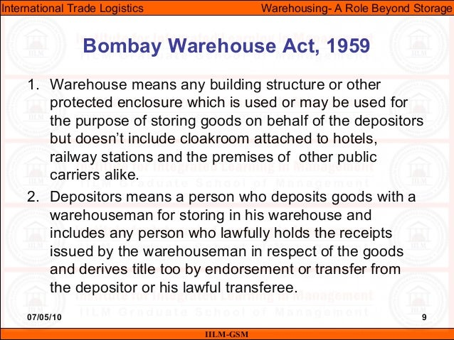 07/05/10 9 1. Warehouse means any building structure or other protected enclosure which is used or may be used for the pur...