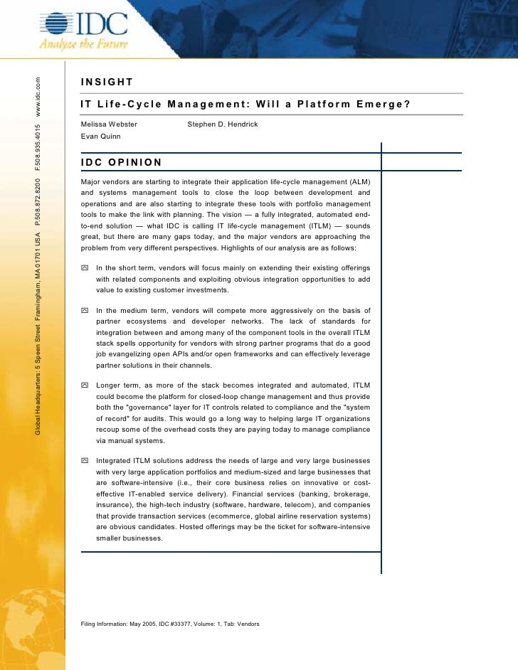 INSIGHT www.idc.com                                                                    IT Life-Cycle Management: Will a Pl...