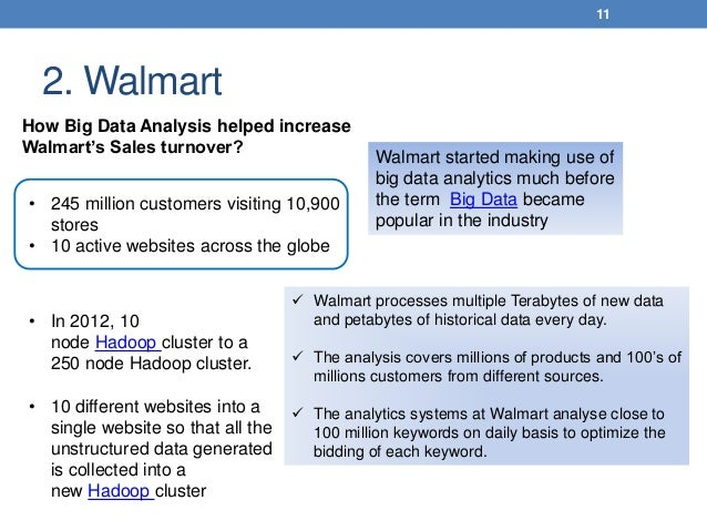 2. Walmart 11 • 245 million customers visiting 10,900 stores • 10 active websites across the globe How Big Data Analysis h...