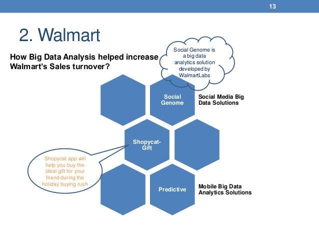 2. Walmart 13 How Big Data Analysis helped increase Walmart's Sales turnover? Social Genome Social Media Big Data Solution...