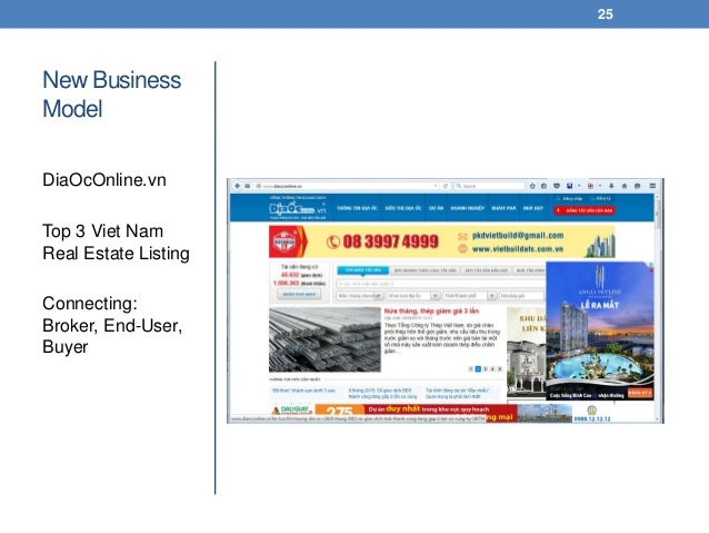 New Business Model DiaOcOnline.vn Top 3 Viet Nam Real Estate Listing Connecting: Broker, End-User, Buyer 25