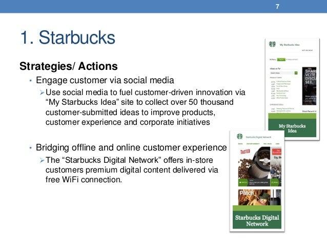 1. Starbucks Strategies/ Actions • Engage customer via social media Use social media to fuel customer-driven innovation v...
