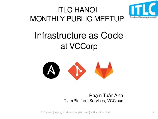 Infrastructure as Code at VCCorp Phạm Tuấn Anh Team Platform Services, VCCloud ITLC HANOI MONTHLY PUBLIC MEETUP ITLC Hanoi...