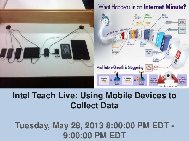 Intel Teach Live: Using Mobile Devices toCollect DataTuesday, May 28, 2013 8:00:00 PM EDT -9:00:00 PM EDTIntel Free Press