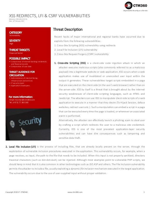 XSS, LFI & CSRF vulnerabilities