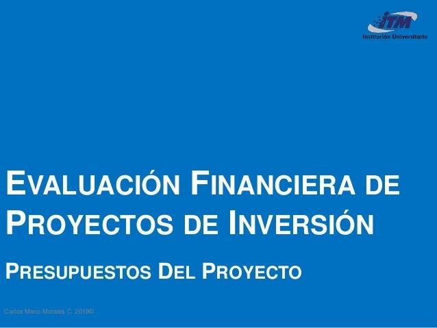 Carlos Mario Morales C 2019© EVALUACIÓN FINANCIERA DE PROYECTOS DE INVERSIÓN PRESUPUESTOS DEL PROYECTO