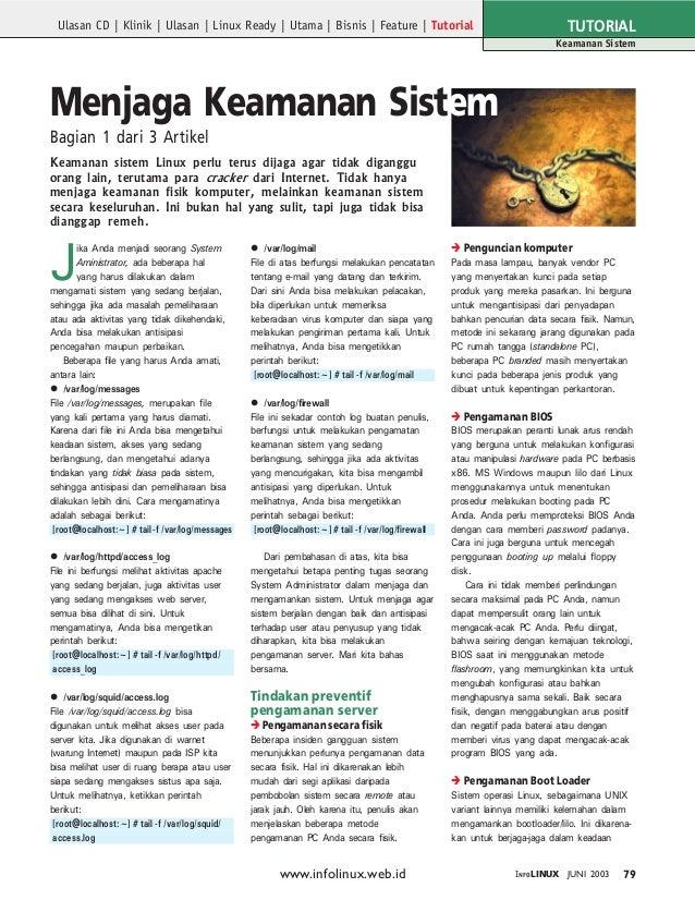 TUTORIAL  Ulasan CD | Klinik | Ulasan | Linux Ready | Utama | Bisnis | Feature | Tutorial  Keamanan Sistem  Menjaga Keaman...