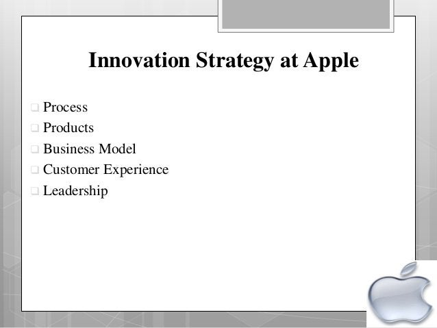 Innovation Strategy at Apple  Process  Products  Business Model  Customer Experience  Leadership
