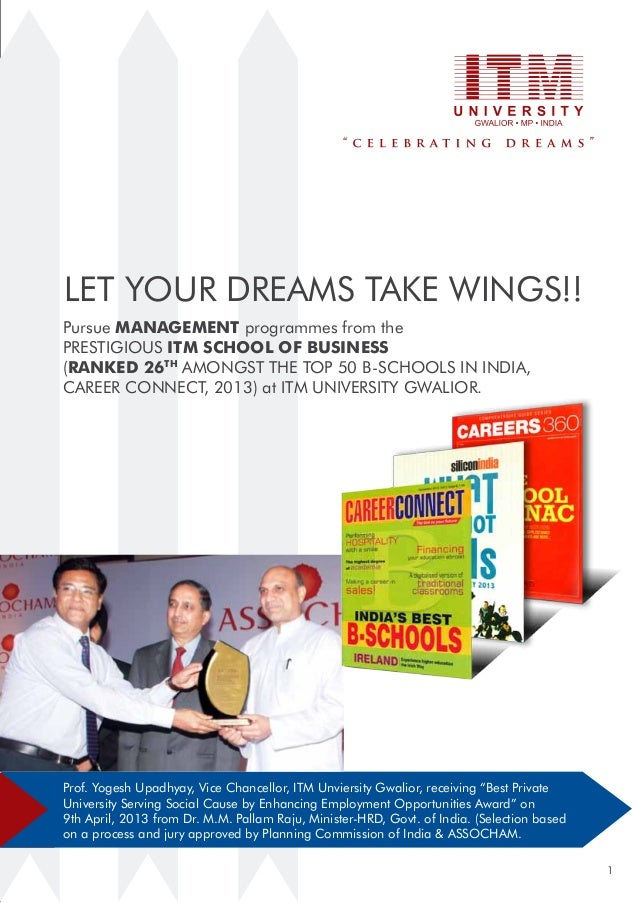 Let your dreams take wings!! Pursue management programmes from the prestigious ITM School of business (Ranked 26th amongst...