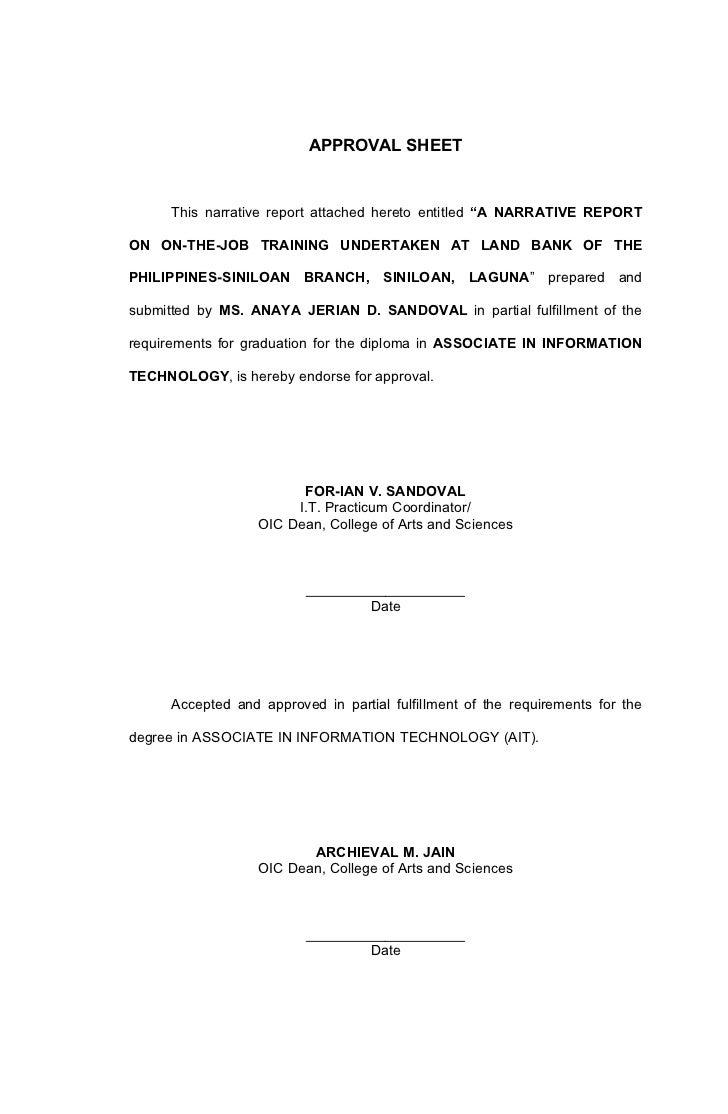 LSPU-Siniloan IT Narrative Report Format