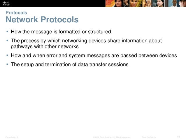 Protocols  Network Protocols   How the message is formatted or structured   The process by which networking devices shar...