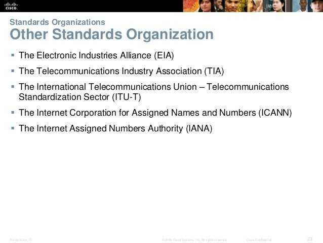 Standards Organizations  Other Standards Organization   The Electronic Industries Alliance (EIA)   The Telecommunication...