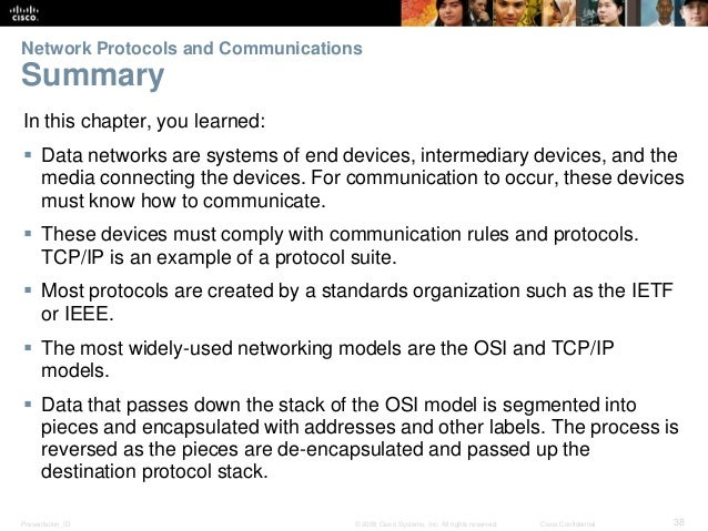 Network Protocols and Communications  Summary  In this chapter, you learned:   Data networks are systems of end devices, ...