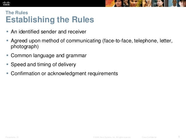 The Rules  Establishing the Rules   An identified sender and receiver   Agreed upon method of communicating (face-to-fac...