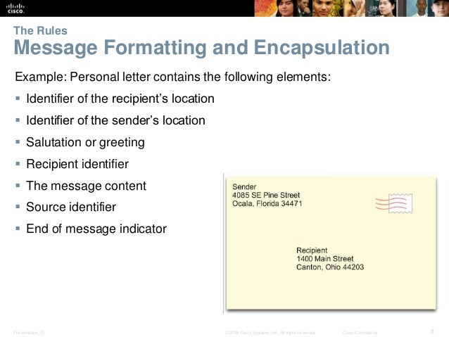 The Rules  Message Formatting and Encapsulation  Example: Personal letter contains the following elements:   Identifier o...