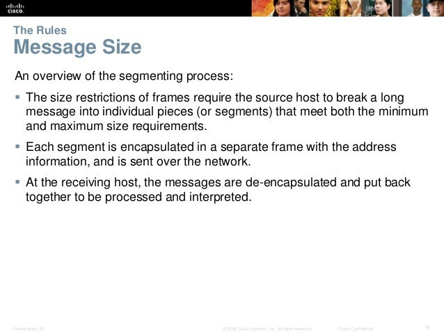 The Rules  Message Size  An overview of the segmenting process:   The size restrictions of frames require the source host...