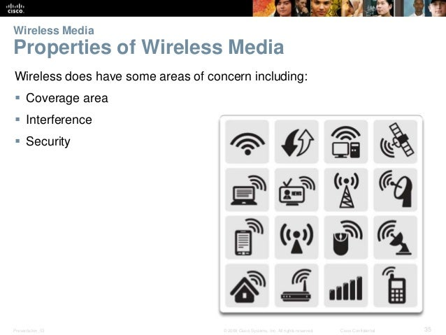 Wireless Media  Properties of Wireless Media  Wireless does have some areas of concern including:   Coverage area   Inte...