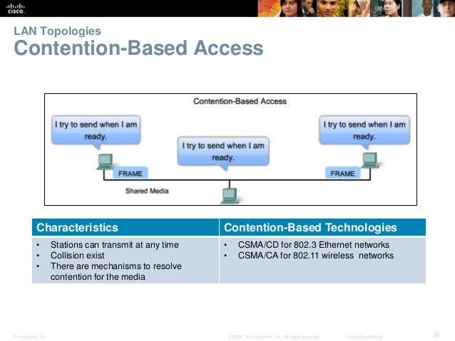 LAN Topologies  Contention-Based Access  Characteristics Contention-Based Technologies  • Stations can transmit at any tim...
