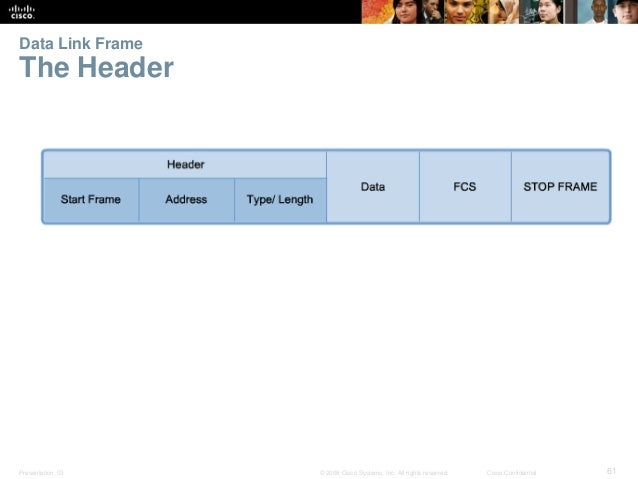 Data Link Frame  The Header  Presentation_ID © 2008 Cisco Systems, Inc. All rights reserved. Cisco Confidential 61