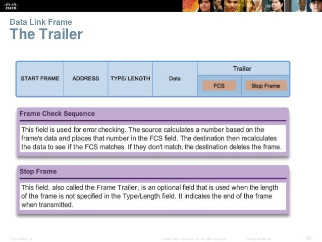 Data Link Frame  The Trailer  Presentation_ID © 2008 Cisco Systems, Inc. All rights reserved. Cisco Confidential 63