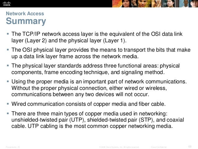 Network Access  Summary   The TCP/IP network access layer is the equivalent of the OSI data link  layer (Layer 2) and the...
