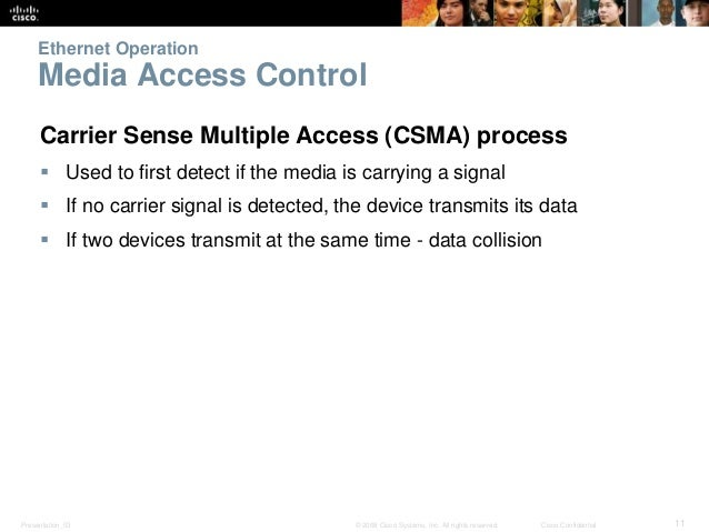 Ethernet Operation  Media Access Control  Carrier Sense Multiple Access (CSMA) process   Used to first detect if the medi...