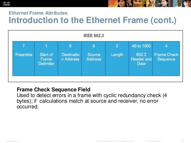 Ethernet Frame Attributes  Introduction to the Ethernet Frame (cont.)  Frame Check Sequence Field  Used to detect errors i...