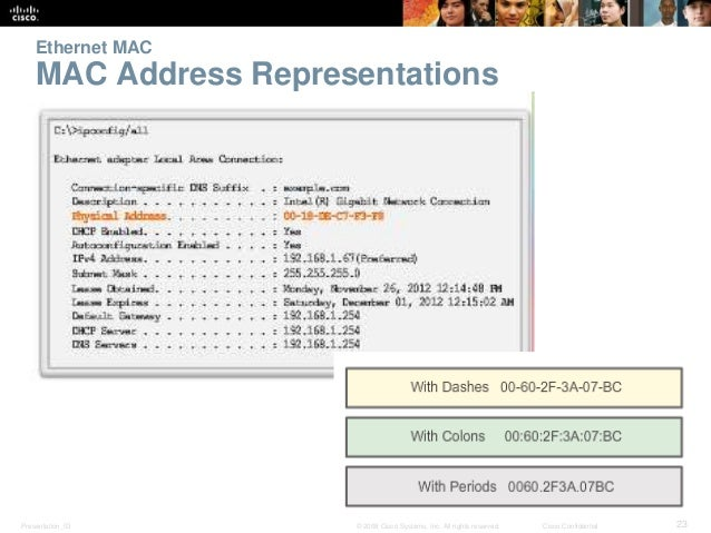 Ethernet MAC  MAC Address Representations  Presentation_ID © 2008 Cisco Systems, Inc. All rights reserved. Cisco Confident...