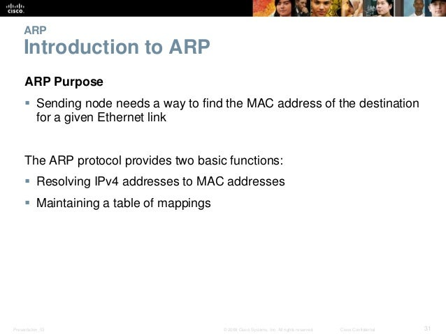 ARP  Introduction to ARP  ARP Purpose   Sending node needs a way to find the MAC address of the destination  for a given ...