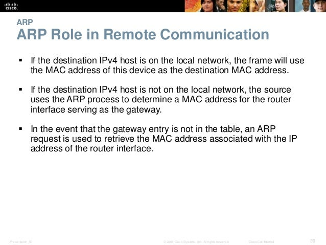 ARP  ARP Role in Remote Communication   If the destination IPv4 host is on the local network, the frame will use  the MAC...