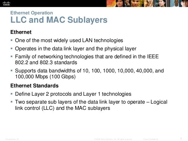 Ethernet Operation  LLC and MAC Sublayers  Ethernet   One of the most widely used LAN technologies   Operates in the dat...