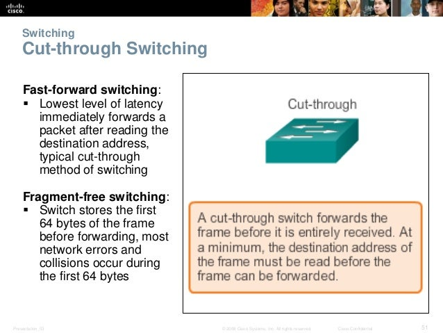 Switching  Cut-through Switching  Fast-forward switching:   Lowest level of latency  immediately forwards a  packet after...