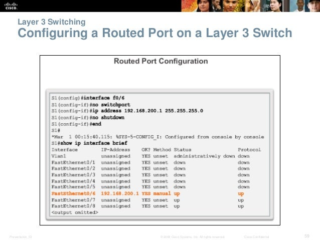 Layer 3 Switching  Configuring a Routed Port on a Layer 3 Switch  Presentation_ID © 2008 Cisco Systems, Inc. All rights re...
