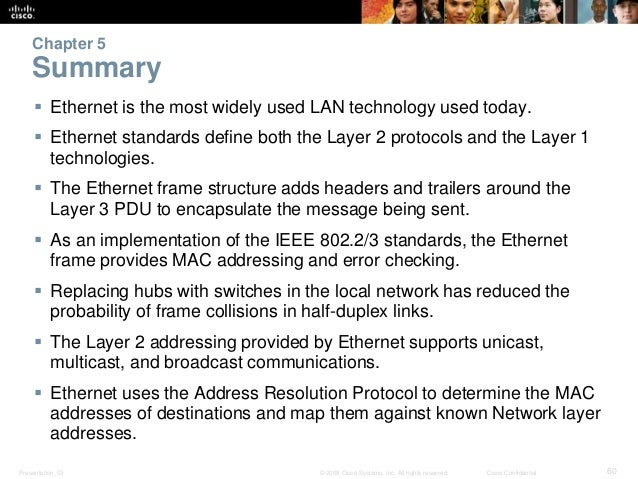 Chapter 5  Summary   Ethernet is the most widely used LAN technology used today.   Ethernet standards define both the La...