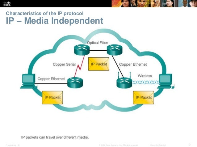 Characteristics of the IP protocol  IP – Media Independent  Presentation_ID © 2008 Cisco Systems, Inc. All rights reserved...