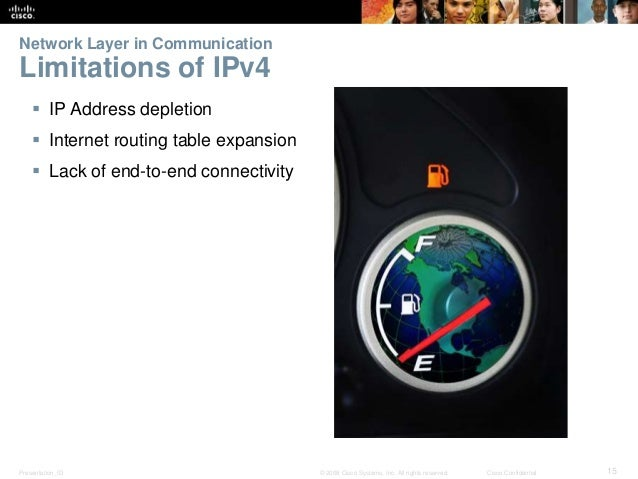 Network Layer in Communication  Limitations of IPv4   IP Address depletion   Internet routing table expansion   Lack of...