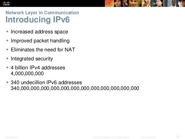 Network Layer in Communication  Introducing IPv6   Increased address space   Improved packet handling   Eliminates the ...