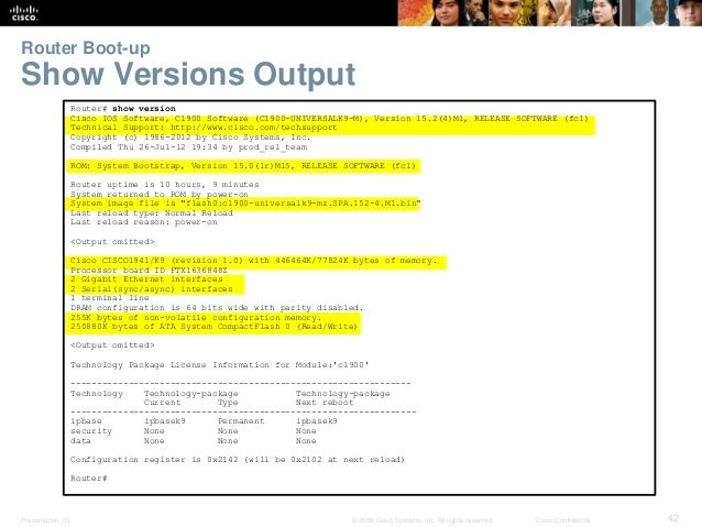 Router Boot-up  Show Versions Output  Router# show version  Cisco IOS Software, C1900 Software (C1900-UNIVERSALK9-M), Vers...