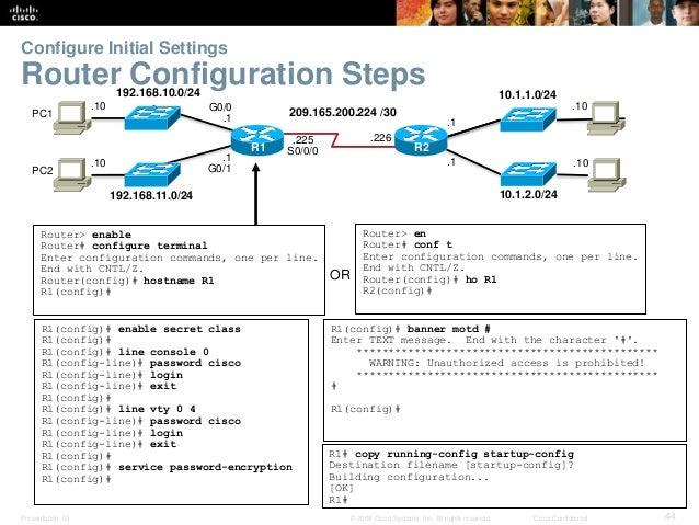 Configure Initial Settings  Router Configuration Steps  192.168.10.0/24  192.168.11.0/24  209.165.200.224 /30  .10  .10  ....