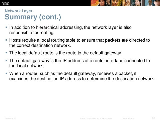Network Layer  Summary (cont.)   In addition to hierarchical addressing, the network layer is also  responsible for routi...