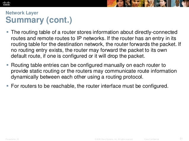 Network Layer  Summary (cont.)   The routing table of a router stores information about directly-connected  routes and re...