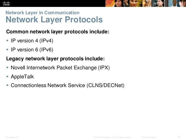 Network Layer in Communication  Network Layer Protocols  Common network layer protocols include:   IP version 4 (IPv4)  ...