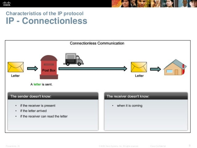 Characteristics of the IP protocol  IP - Connectionless  Presentation_ID © 2008 Cisco Systems, Inc. All rights reserved. C...