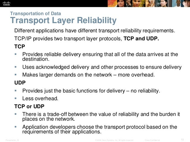 Transportation of Data  Transport Layer Reliability  Different applications have different transport reliability requireme...