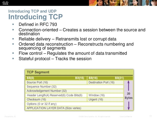 Introducing TCP and UDP  Introducing TCP   Defined in RFC 793   Connection-oriented – Creates a session between the sour...